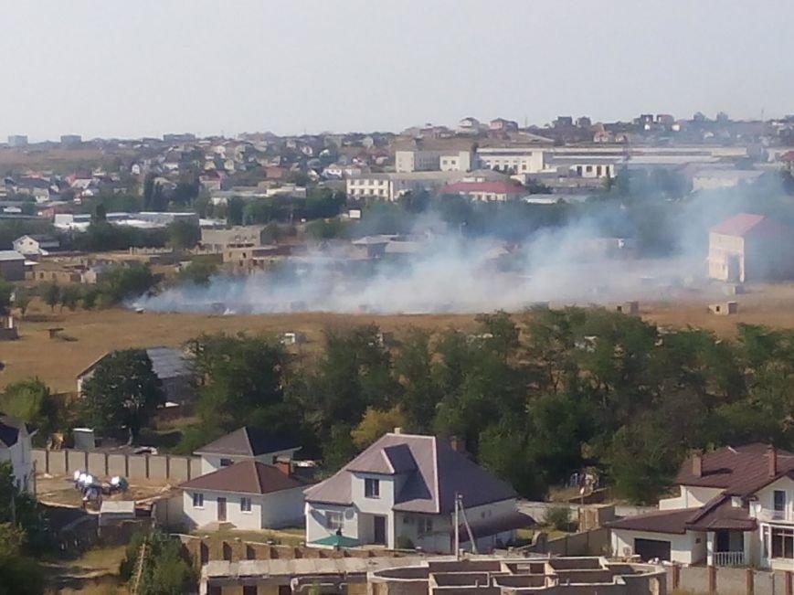 В Симферополе горело поле с самозахватами (ФОТО), фото-1