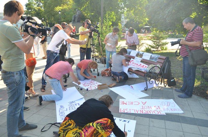 В Симферополе требовали освободить журналистов, задержанных на востоке Украины (ФОТО, ВИДЕО), фото-1