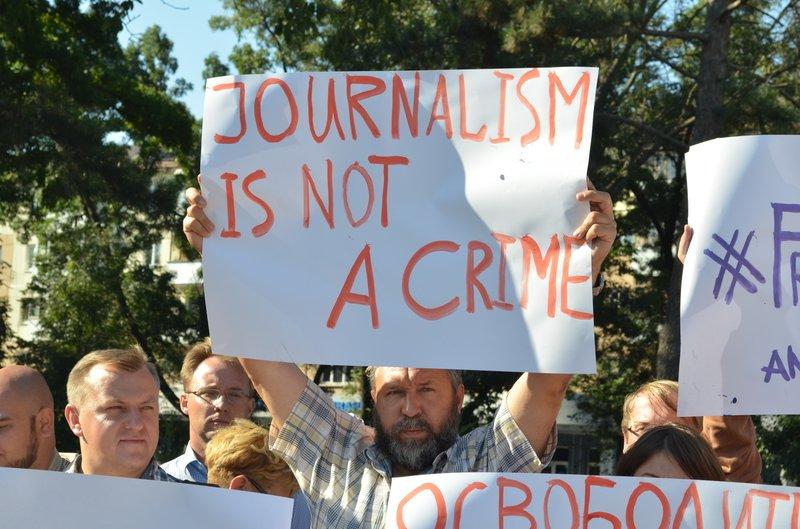 В Симферополе требовали освободить журналистов, задержанных на востоке Украины (ФОТО, ВИДЕО), фото-8