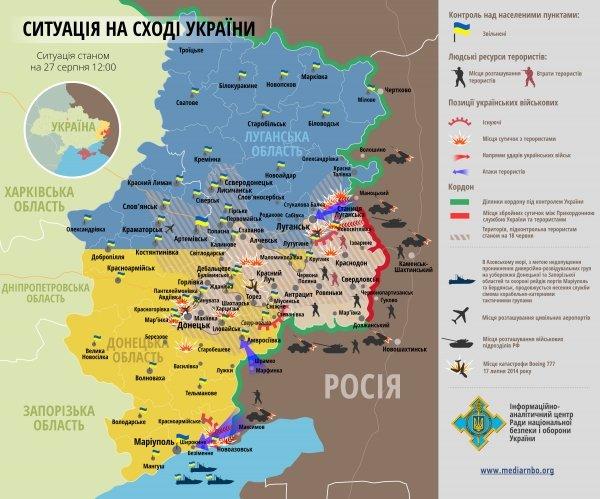 Карта боевых действий на востоке на 27 августа, фото-1