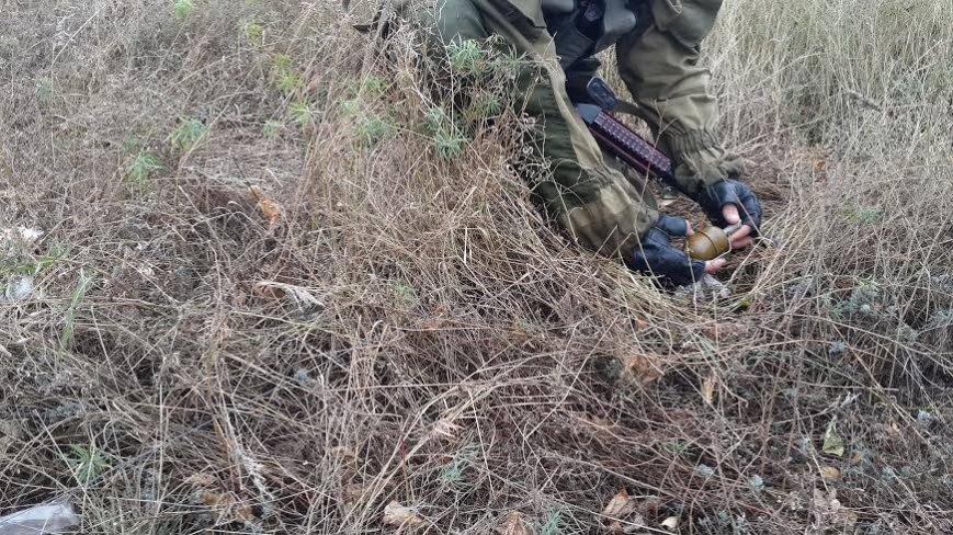 В Славянске патруль киевского добровольческого батальона обезвредил гранату с надписью «За ДНР», фото-1