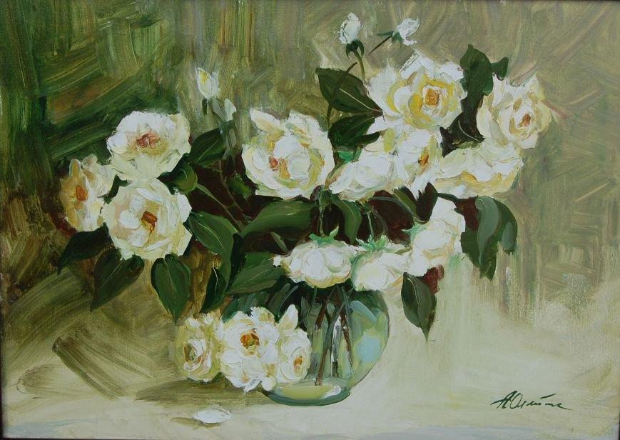 белые розы 50х70 (х.м)
