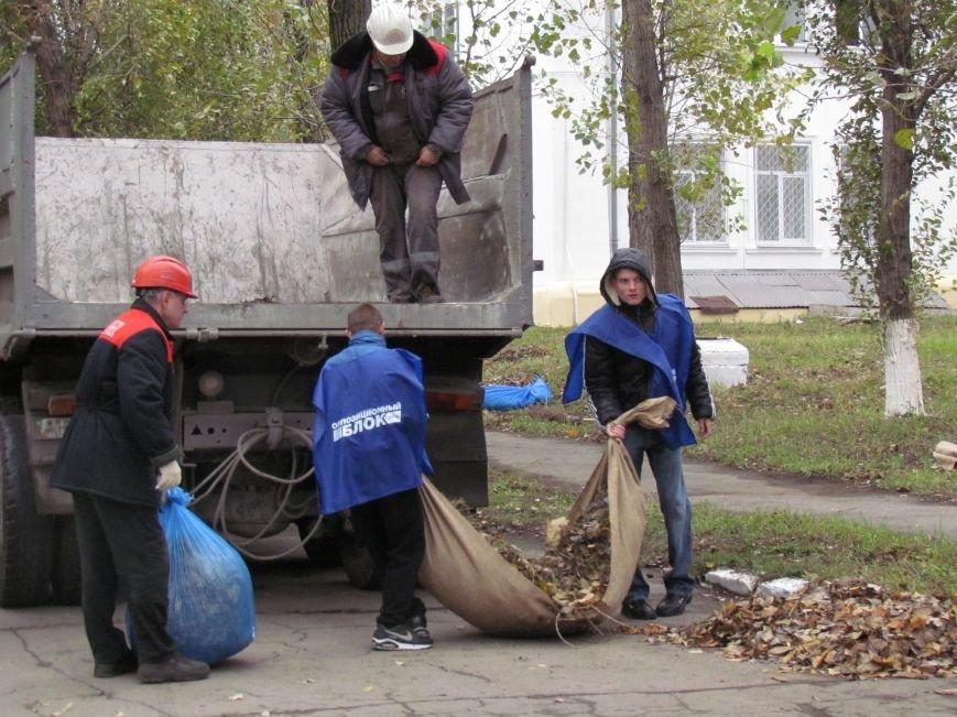Мариупольские общественники и активисты оппозиционных сил очистили от листвы горбольницу №4 (ФОТОРЕПОРТАЖ), фото-2