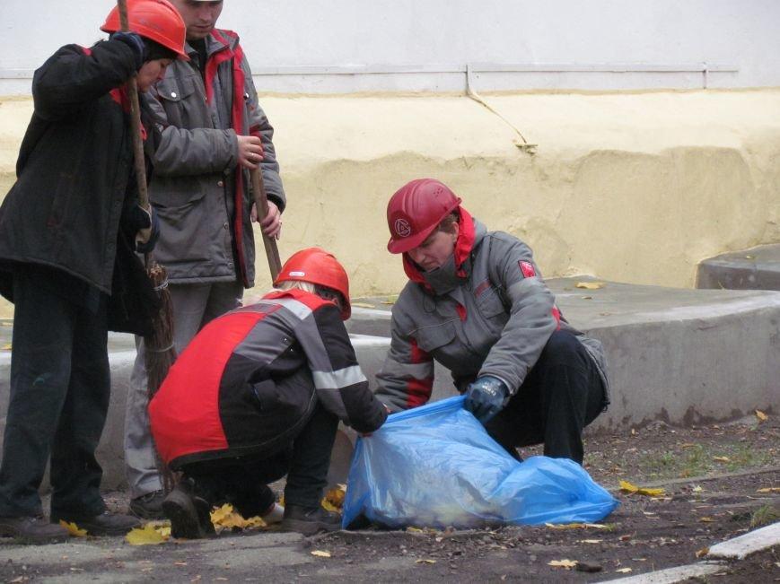 Мариупольские общественники и активисты оппозиционных сил очистили от листвы горбольницу №4 (ФОТОРЕПОРТАЖ), фото-5