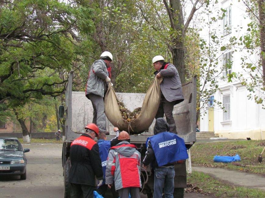 Мариупольские общественники и активисты оппозиционных сил очистили от листвы горбольницу №4 (ФОТОРЕПОРТАЖ), фото-14