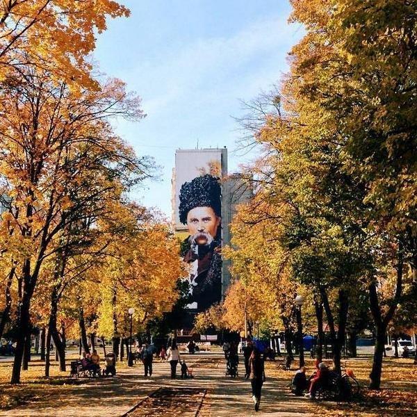 На торце девятиэтажки в Харькове нарисовали самый большой в мире портрет Тараса Шевченко, фото-1
