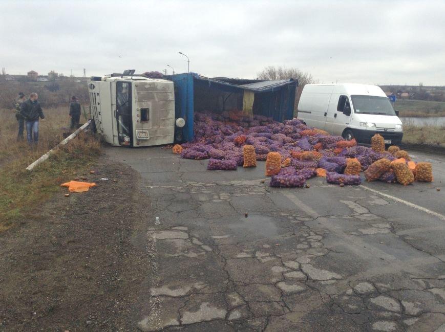 Первые жертвы гололеда: на трассе «Кировоград - Кривой Рог»  перевернулся КамАЗ с картошкой (ФОТО), фото-2