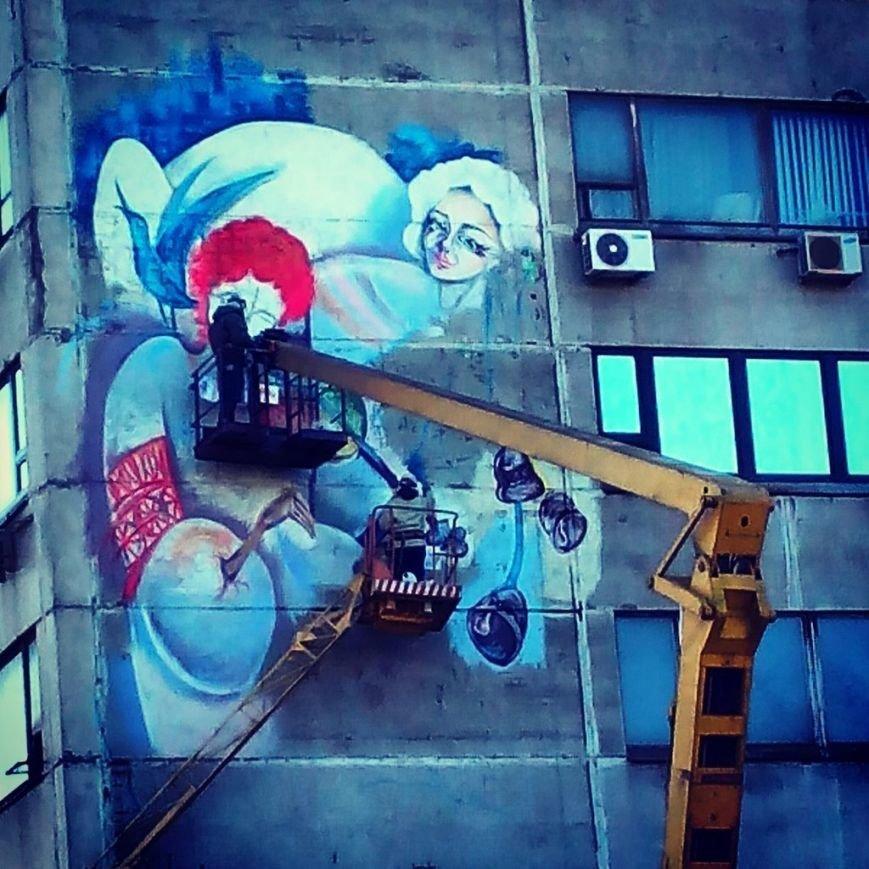 ФОТОФАКТ: В Запорожье здание на проспекте украсили рисунком, фото-2