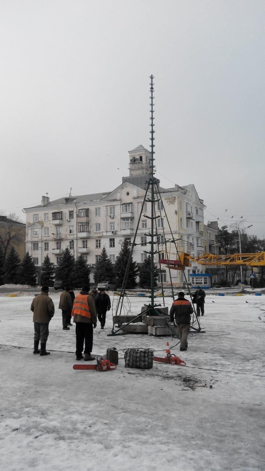 На центральной площади Краматорска начат монтаж новогодней ели (фото) - фото 1