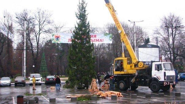 ФОТОФАКТ: Новогодний подарок из Карелии в Симферополе пришлось устанавливать под дождем (фото) - фото 2
