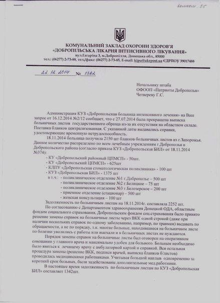 Как обстоят дела с больничными листами в г. Доброполье? (фото) - фото 1