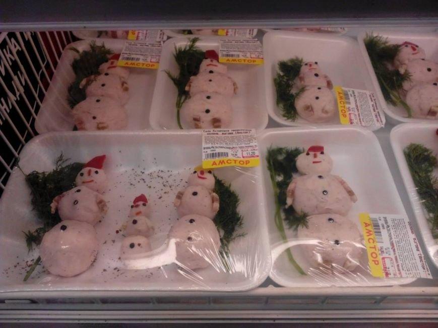 В Донецке продают снеговиков из сала с укропом (ФОТОФАКТ), фото-1