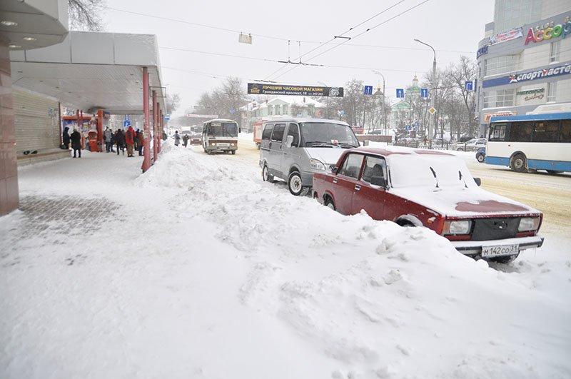 Из-за снежной бури на северном выезде из Белгорода образовался транспортный затор на сотни метров, фото-6