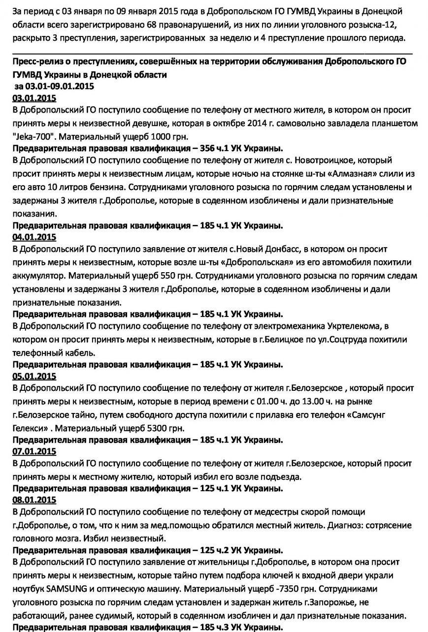 Сводка преступлений по Добропольскому району с 3 по 9 января 2015 года (фото) - фото 1