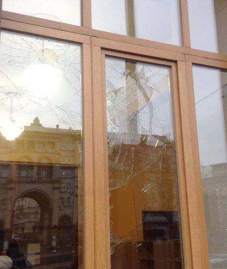 В Киевсовете хулиган в камуфляжке побил окна, а кто-то еще подбросил к Минэкологии дохлую собаку (фото) - фото 2