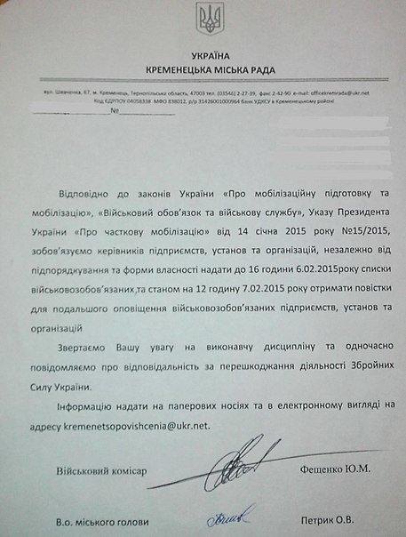 На Тернопільщині військомати розсилають «листи щастя» місцевим підприємствам (фото) (фото) - фото 1