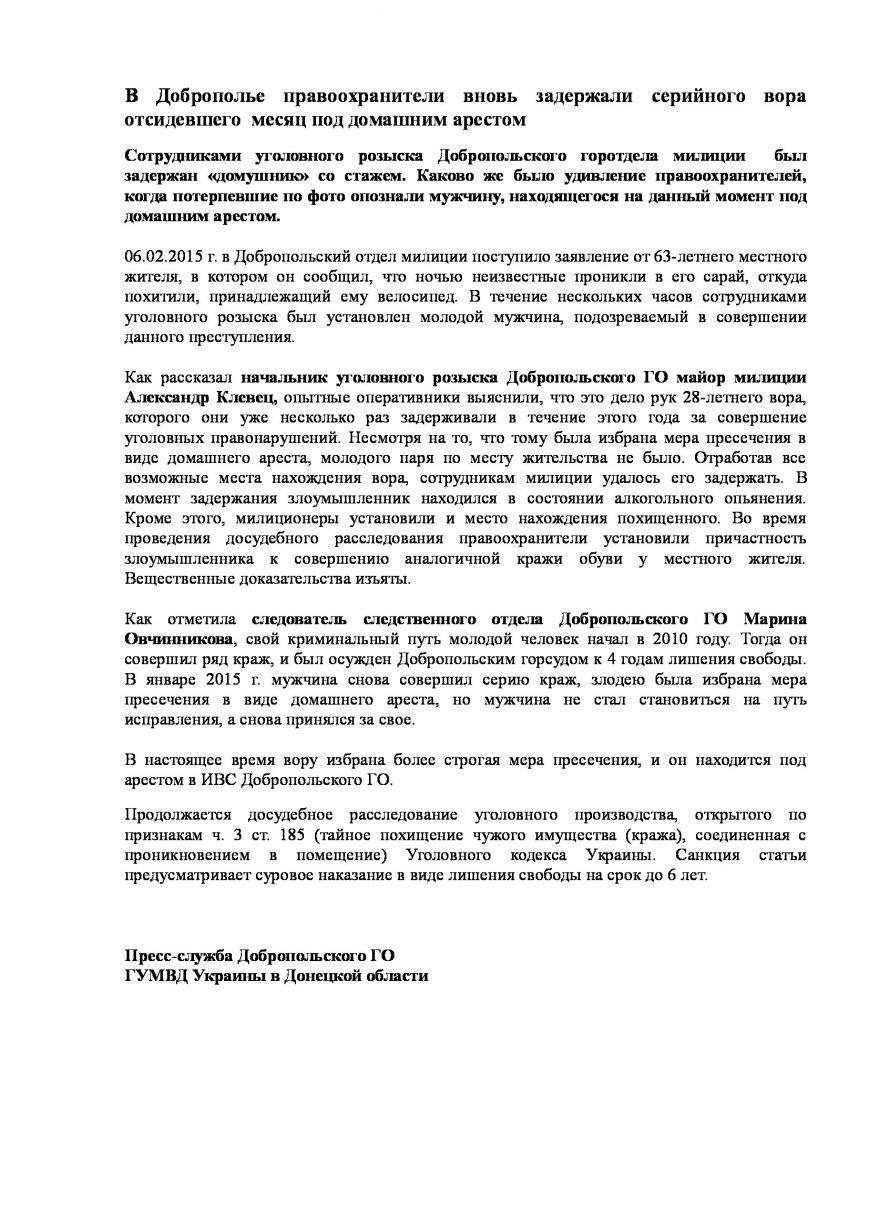 В Доброполье правоохранители вновь задержали серийного вора,  отсидевшего  месяц под домашним арестом (фото) - фото 1