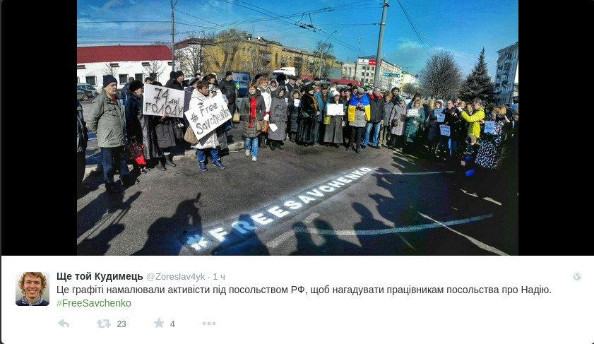 #FreeSavchenko: В Киеве под посольством РФ активисты нарисовали граффити (ФОТО) (фото) - фото 1