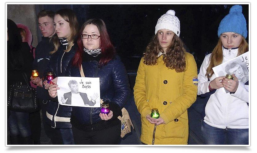 Славянцы почтили память убитого возле Кремля оппозиционера Бориса Немцова (фото) - фото 2