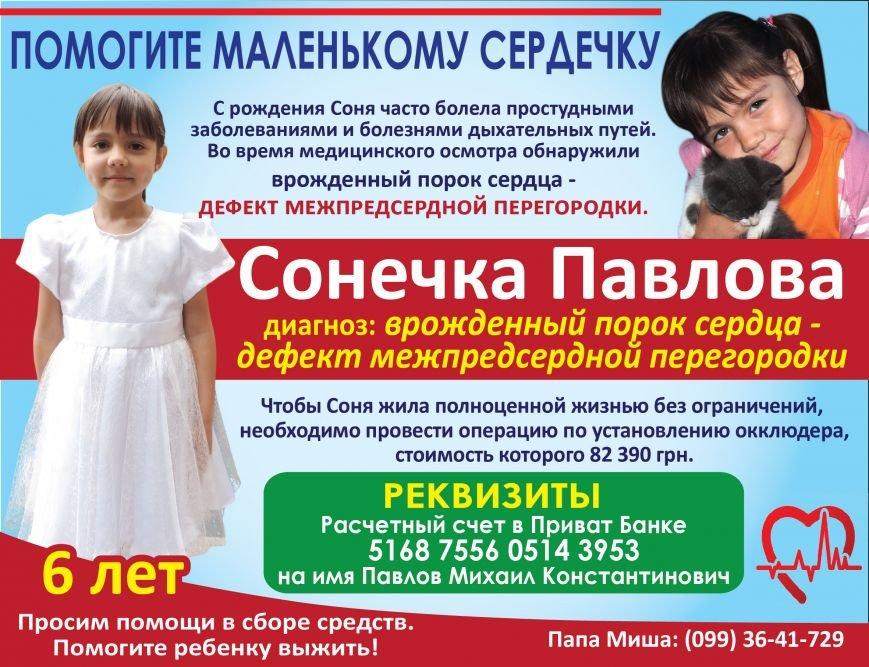 Запорожцы собирают средства на помощь Сонечке Павловой (фото) - фото 1