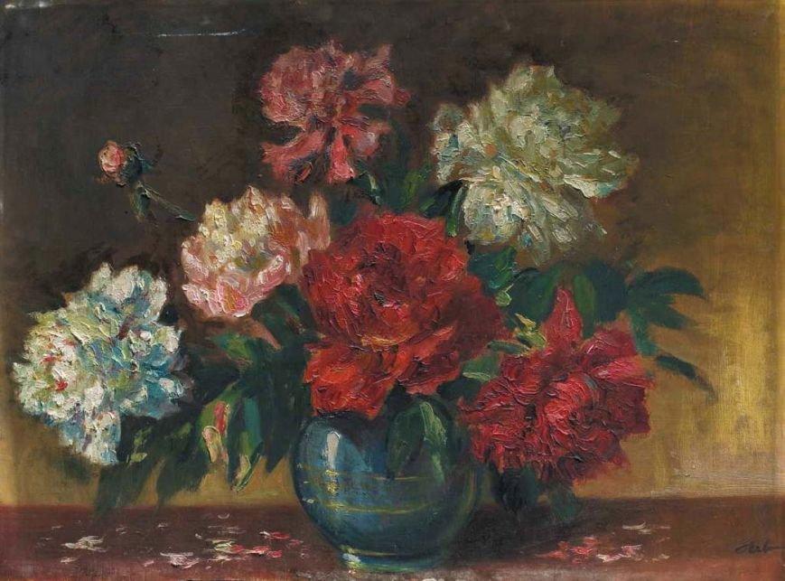 Букет квітів олія, картон