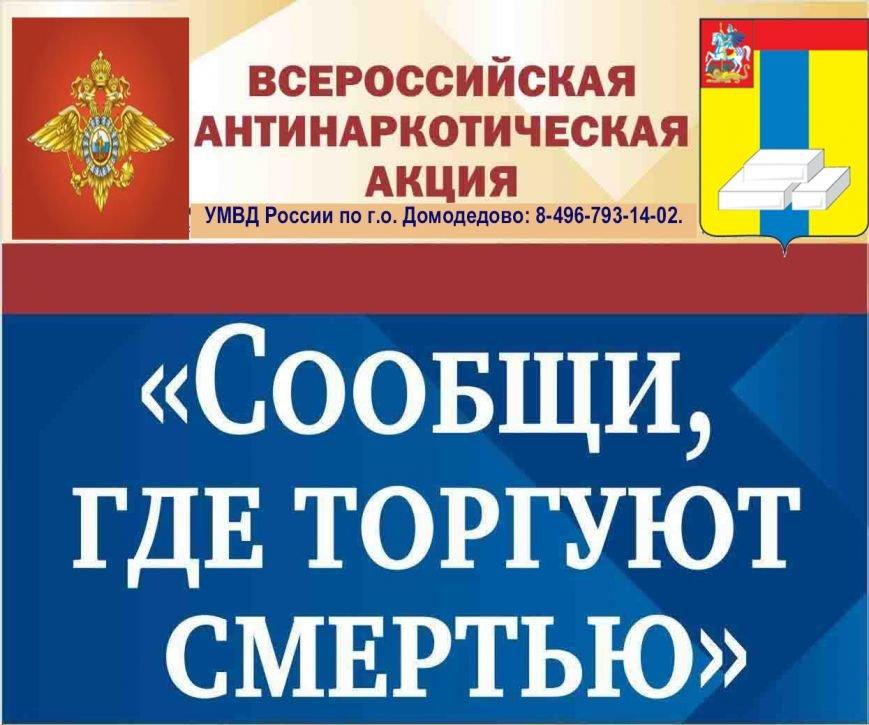 УМВД  проводит Акцию «Сообщи, где торгуют смертью» в г.о. Домодедово (фото) - фото 1