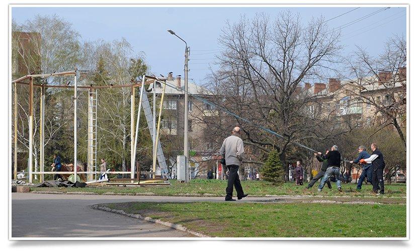 Пристанище Диво-Птаха полностью убирают с площади Славянска (фотофакт) (фото) - фото 2