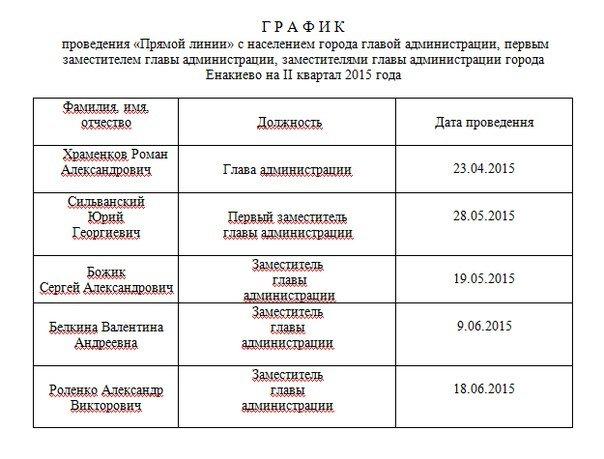 График приема граждан и проведения «Прямых линий»  руководителями Енакиевской городской администрации, фото-2