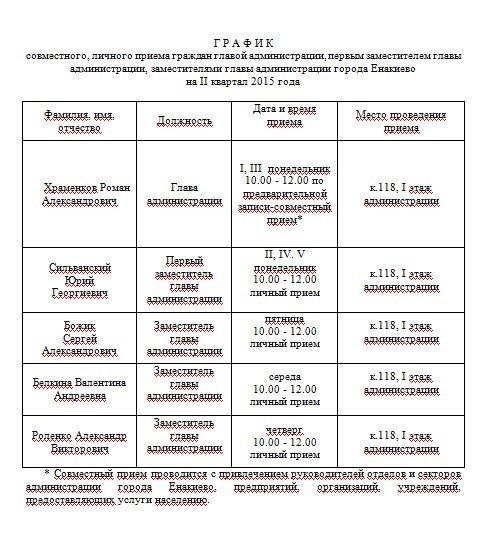 График приема граждан и проведения «Прямых линий»  руководителями Енакиевской городской администрации, фото-1
