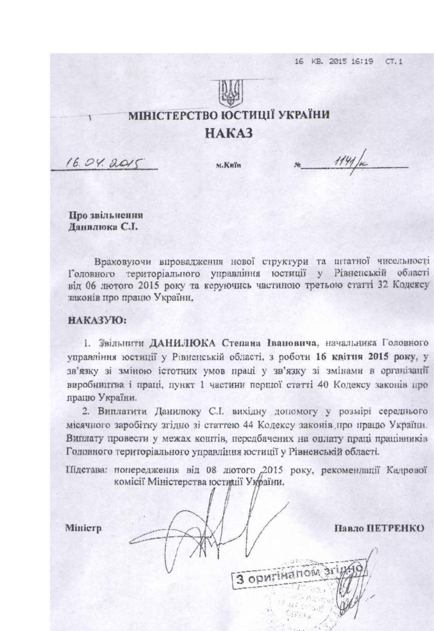 Наказ про звільнення Данилюка С.І.