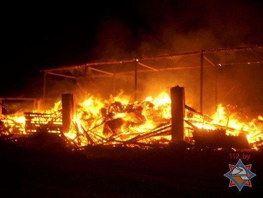 Фотофакт: в Лидском районе загорелось хранилище сена (фото) - фото 1