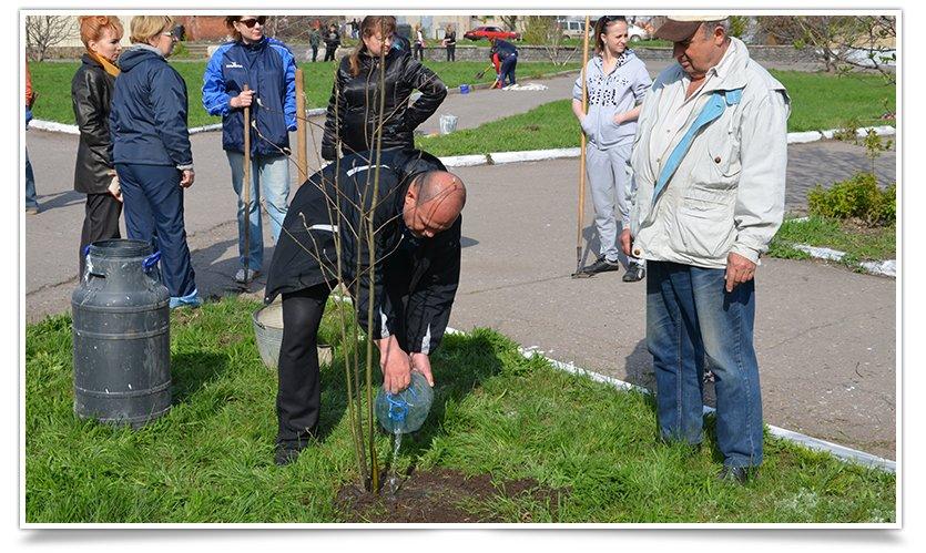 Горводоканал Славянска совместно с объединением «Самопоміч» высадил 20 деревьев (фото) - фото 3