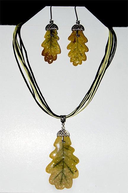 Набор украшений из натурального дубового листа