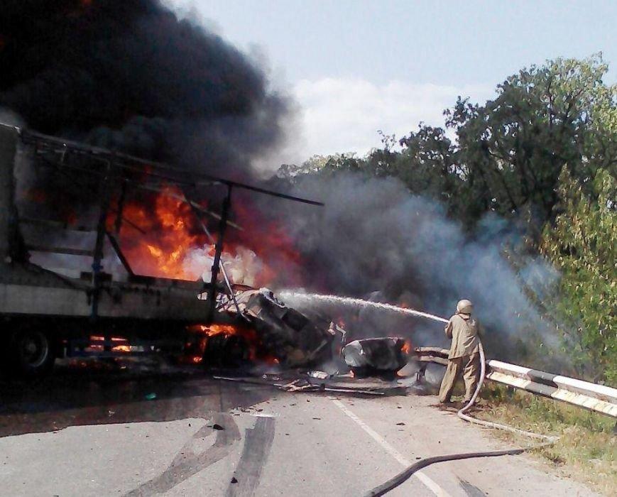 Автокатастрофа в Запорожской области: на трассе сгорели две фуры, один человек погиб (фото) - фото 1