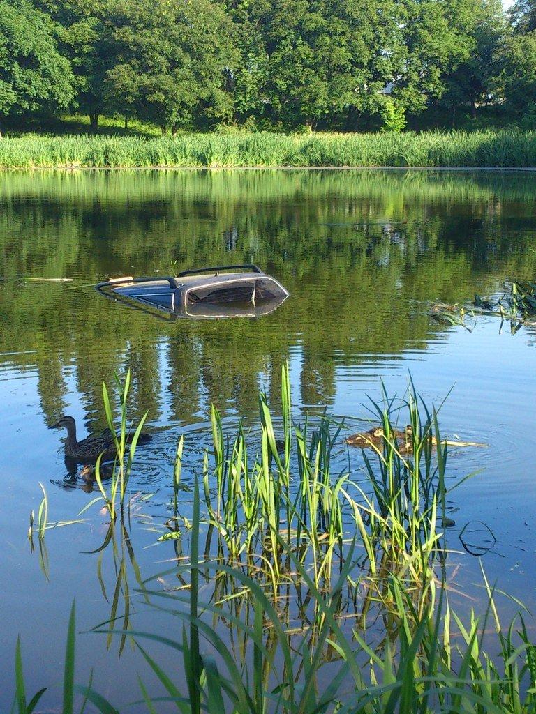 В Сумах на Дуровщине такси упало в озеро (ФОТО) (фото) - фото 1