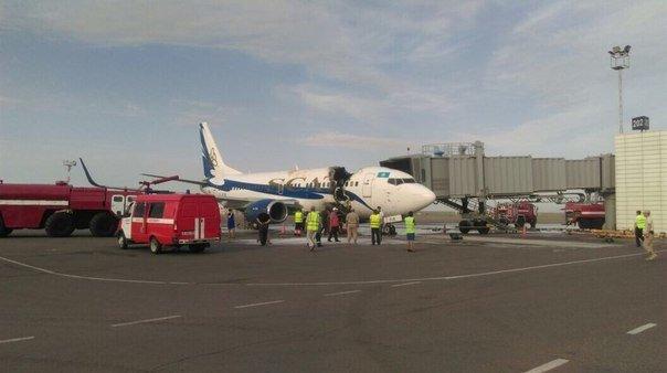 В аэропорту Актау загорелся самолет компании SCAT (фото) - фото 1