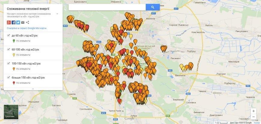 У Львові створили карту питомого споживання теплової енергії в будинках (фото) - фото 1