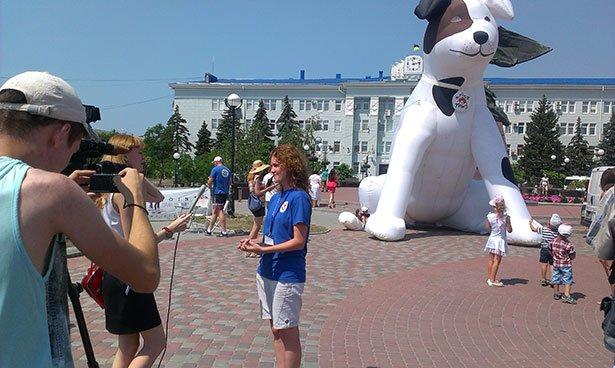 В Бердянске прямо посреди площади установили огромную надувную собаку (фото) - фото 1