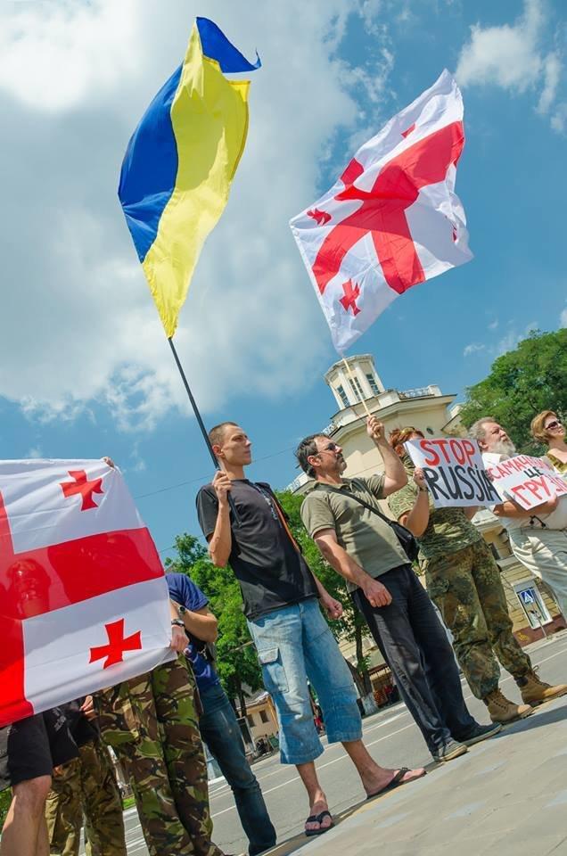 Мариупольцы  на Театральной площади поддержали Грузию (ФОТО), фото-4