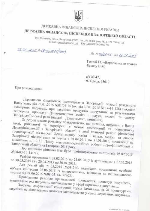 В Запорожской области 70 тендеров на закупку продуктов питания проведены с нарушением законодательства (ДОКУМЕНТ) (фото) - фото 1
