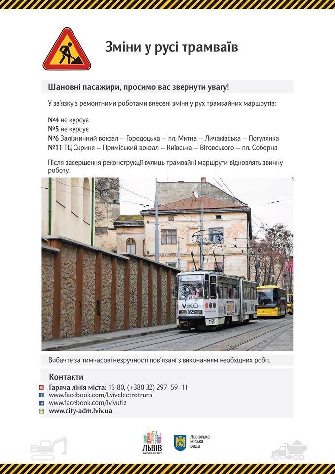 У Львові змінено рух трамваїв (СХЕМА) (фото) - фото 1
