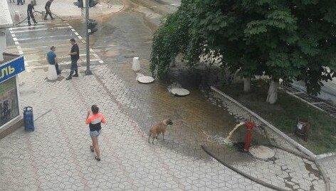 По главному проспекту Мариуполя льется вода ржаво цвета (ФОТО) (фото) - фото 2