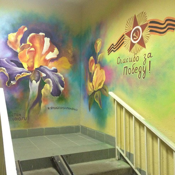 Художники радуют ветеранов Волгограда и Волжского рисунками на стенах (фото) - фото 1