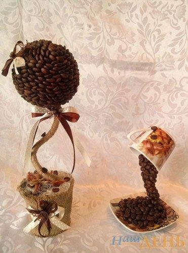 Тернополянка із зерен кави створює казкові горнятка й деревця (фото) (фото) - фото 1