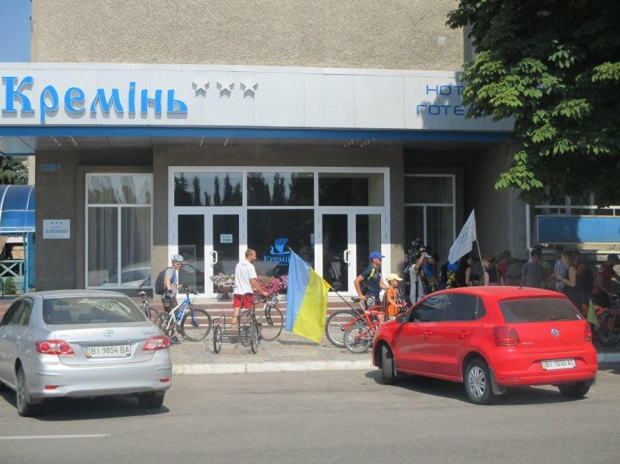 Кременчугские спасатели встретили участников велопробега на въезде в город, фото-14
