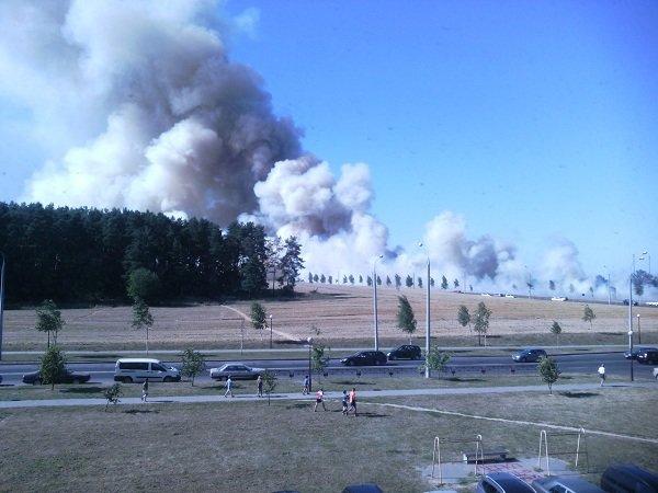 На Вишневце произошел пожар поля: под угрозой оказался лес и 4-ая больница (фото) - фото 1