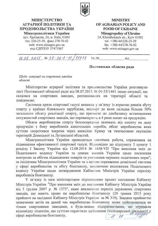 В Мінагрополітики розповіли, чому не працюють спиртові заводи на Полтавщині (фото) - фото 1