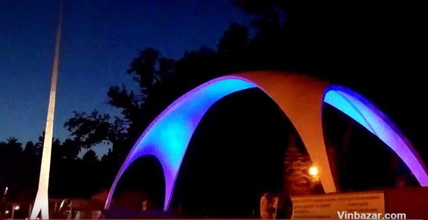 Вінницьку арку підсвітили різними кольорами (Відео+Фото), фото-1