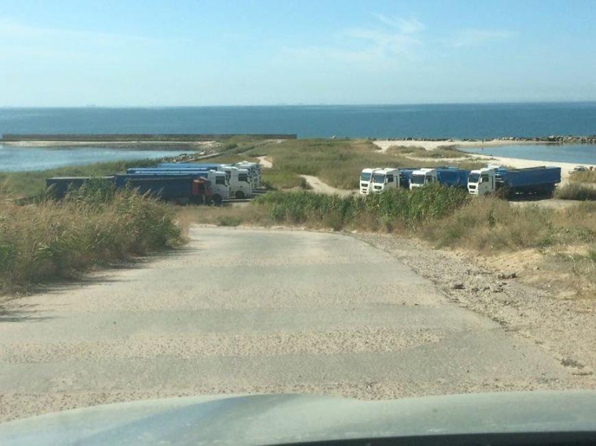 Неуместное соседство: большегрузные автомобили на пляже в Бердянске, фото-1