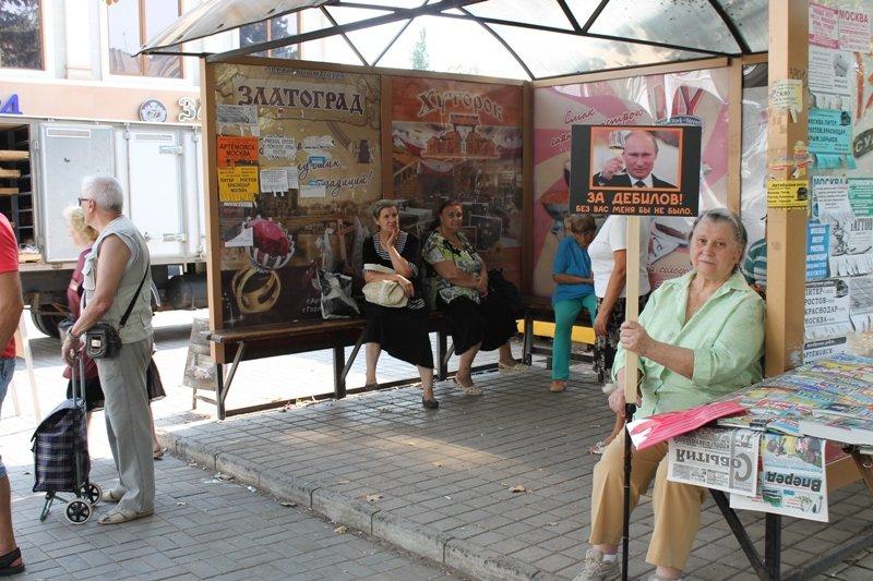 В Артемовске жительница выходит на ежедневную Антипутинскую акцию, фото-1